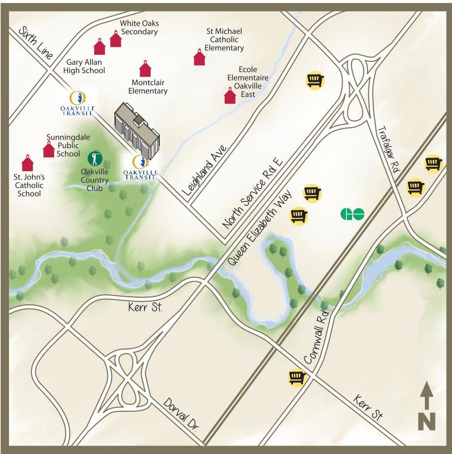 illustrated map of oakville main streets and properties