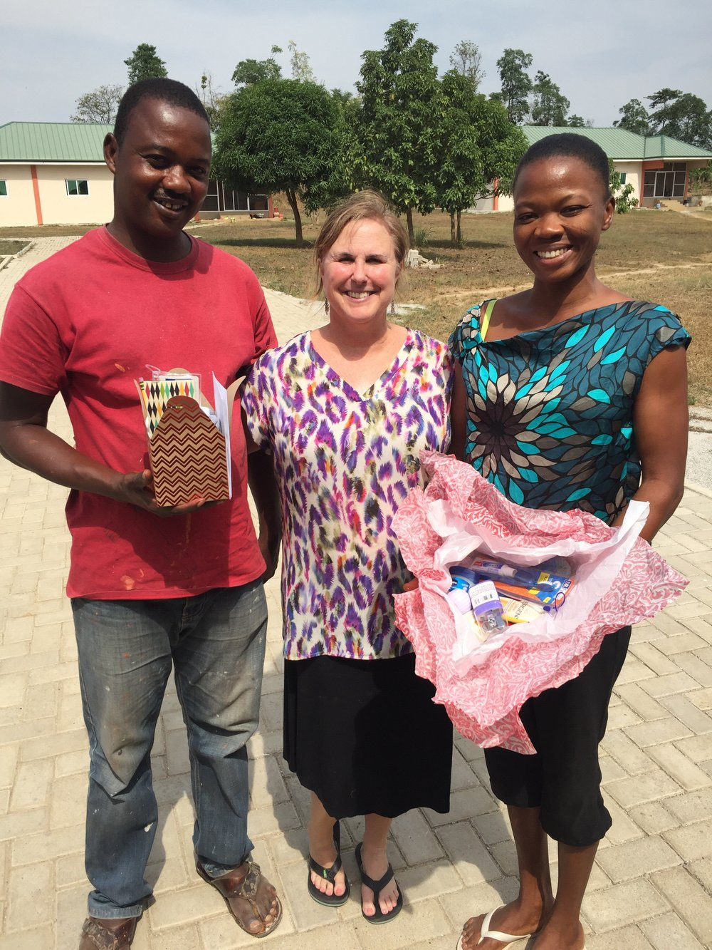 Jonna with Mumuni and his wife Hawa. Together they co-own a sustainable hog farm in Ghana.