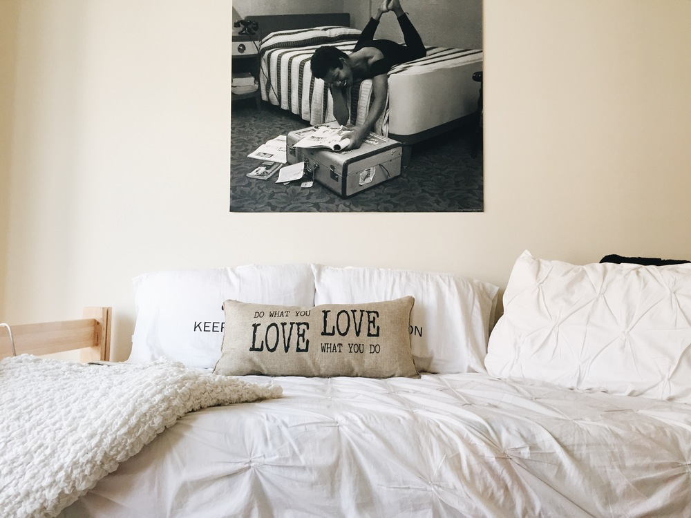 Duvet Cover: West Elm / Throw: Ikea / Pillows: Marshalls