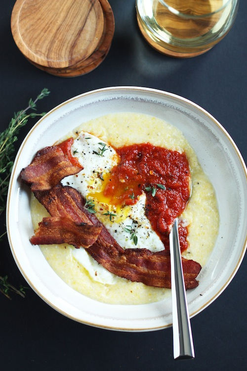 Creamy Polenta, Fried Egg, Bacon & Arrabiata