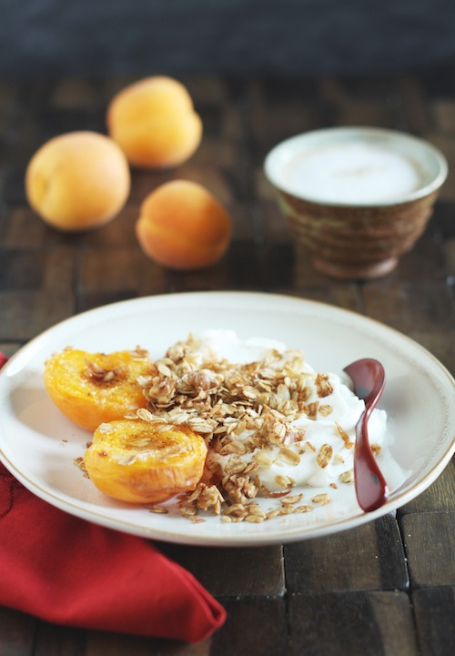 Homemade Granola, Broiled Apricots, Yogurt