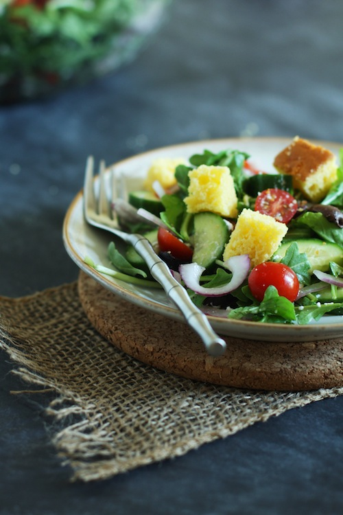 Greek Salad with Cornbread