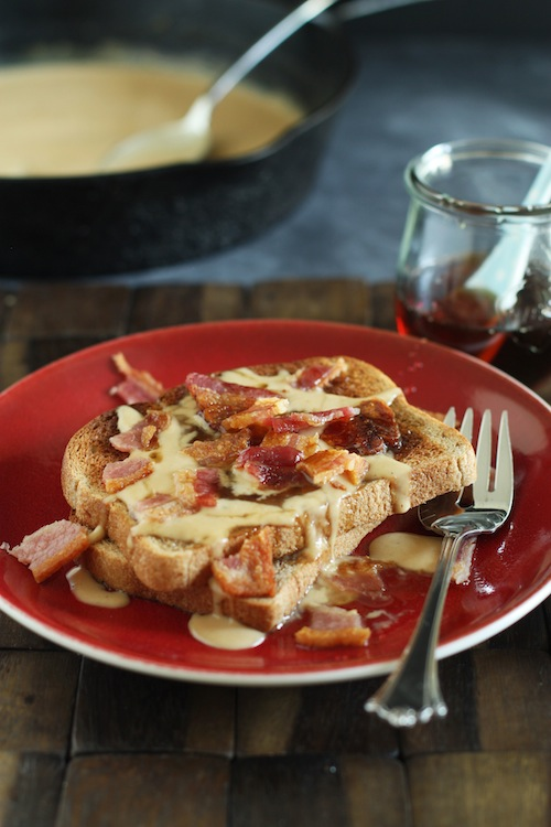 Peanut Butter Toast with Bacon & Maple Syrup