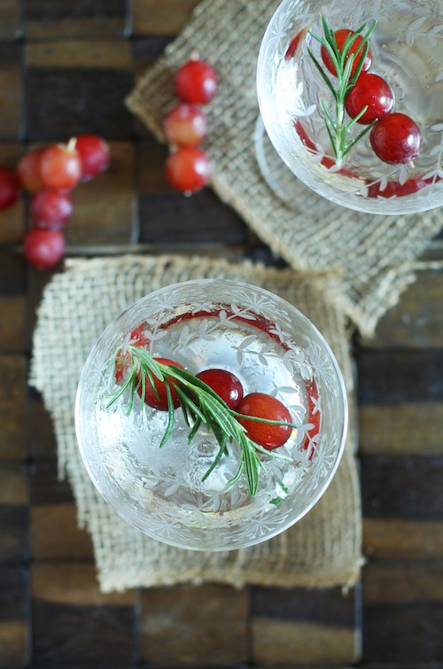Rosemary Martini with Frozen Grapes