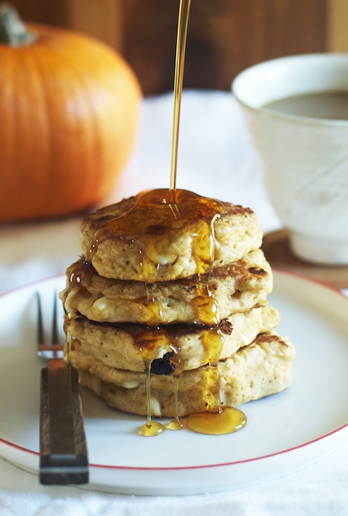 Pumpkin White Chocolate Chip Pancakes :: Set the Table