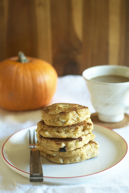 Stack of Pumpkin White Chocolate Chip Pancakes :: Set the Table