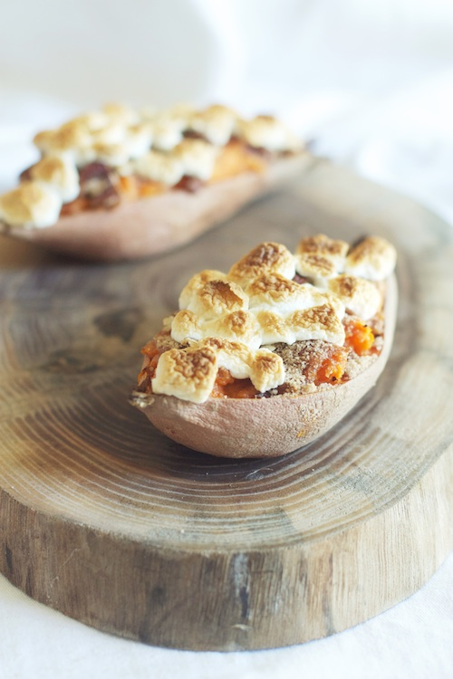 Twice Baked Sweet Potatoes with Marshmallows | Set the Table