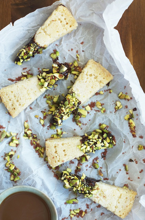 Shortcake with dark chocolate ganache, pistachios & red sea salt | Set the Table