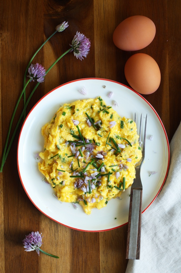 Chive Blossom & Cheddar Scrambled Eggs | Set the Table