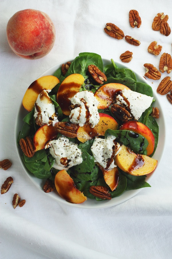 Peach & Burrata Salad with Pecans | Set the Table