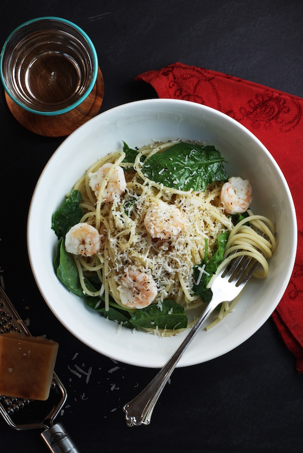 Citrusy Shrimp & Spinach Spaghetti Recipe | Set the Table