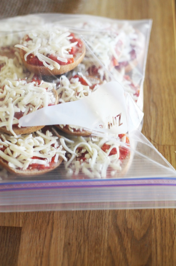 Mini Bagel Pizzas for the Freezer | Set the Table