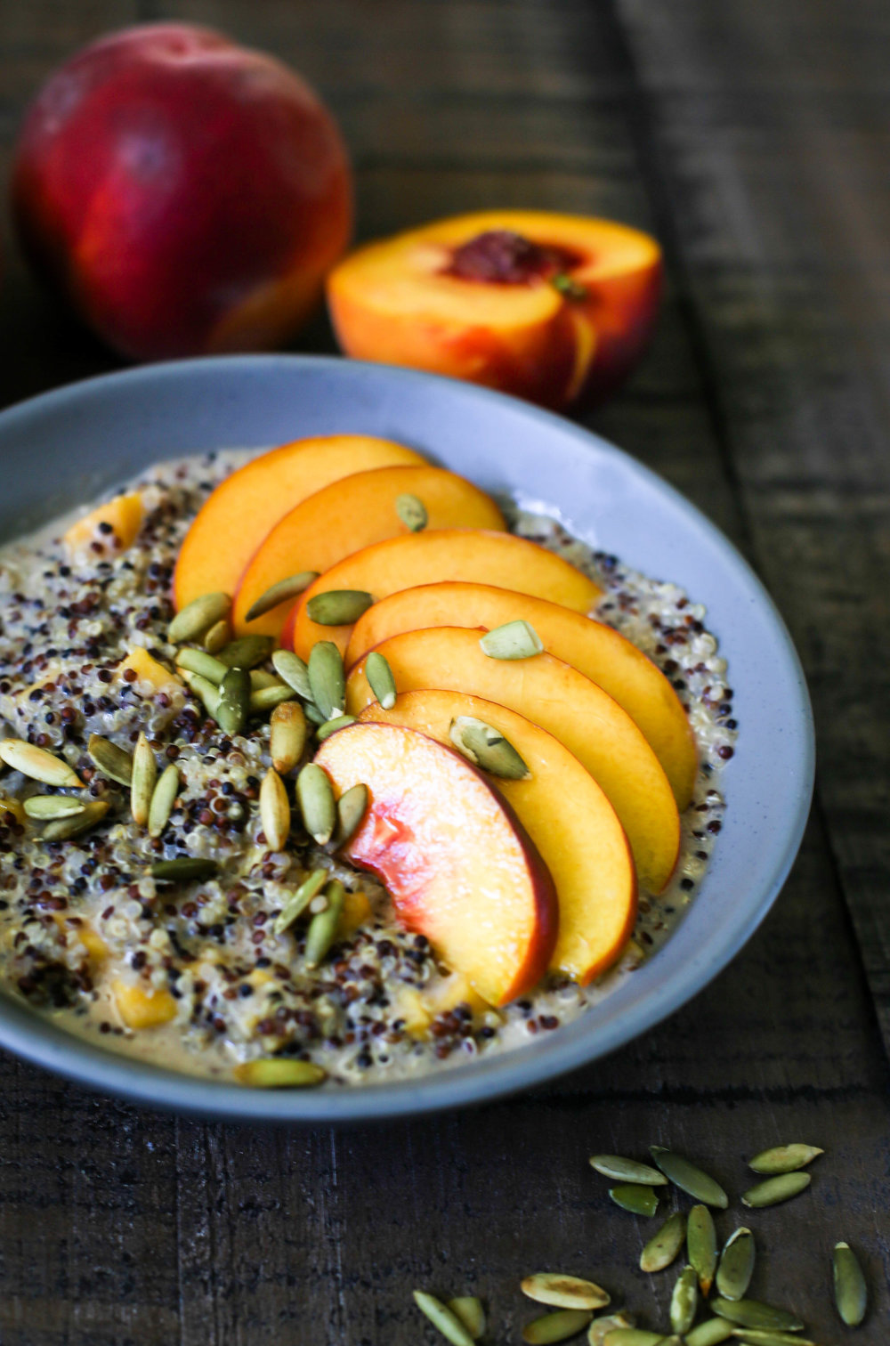 Spiced Peaches & Cream Quinoa Porridge