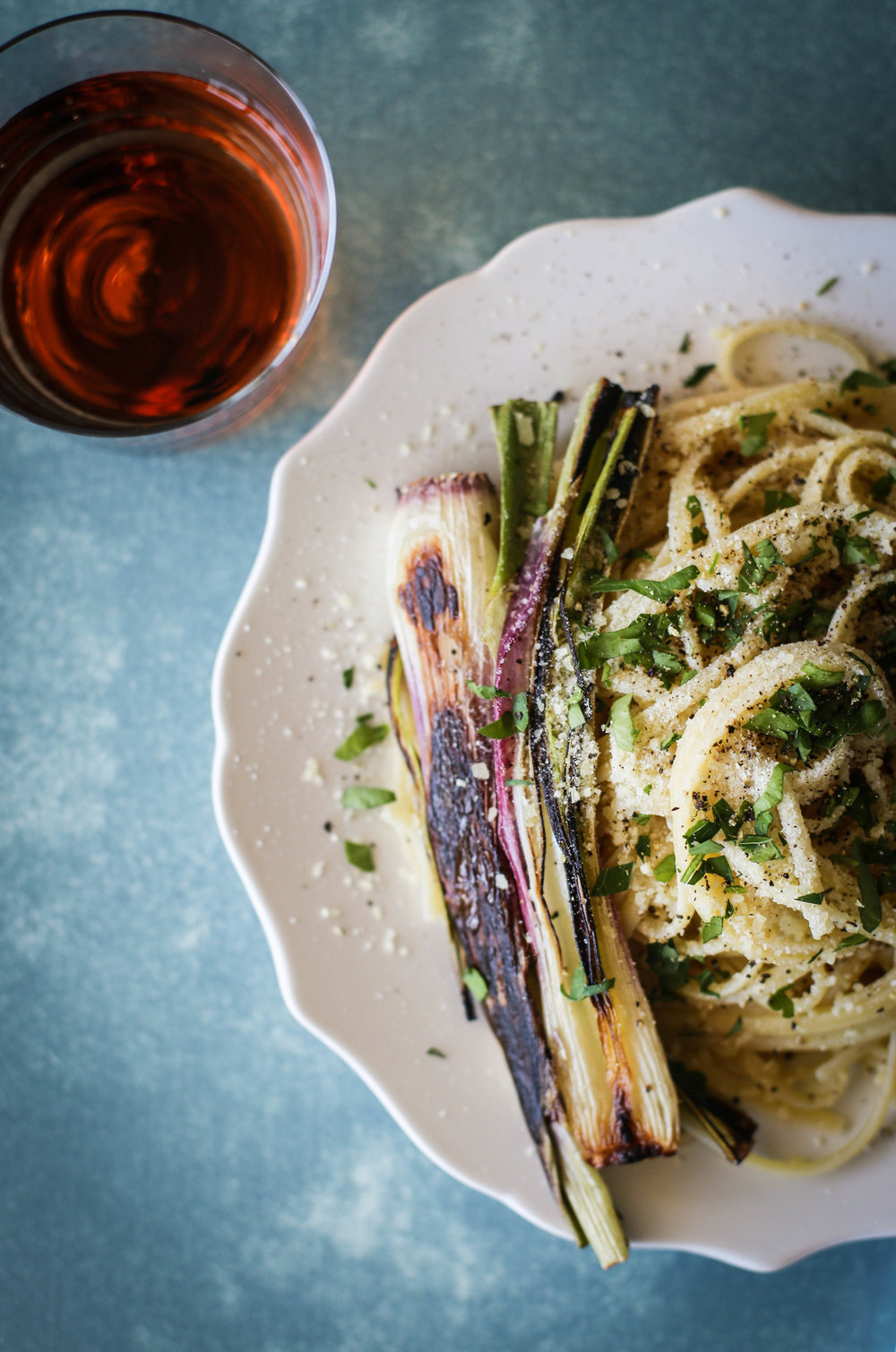 Linguine with Charred Spring Onions