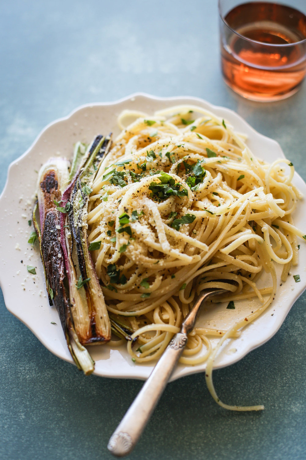Linguine with Warm Red Wine Vinaigrette