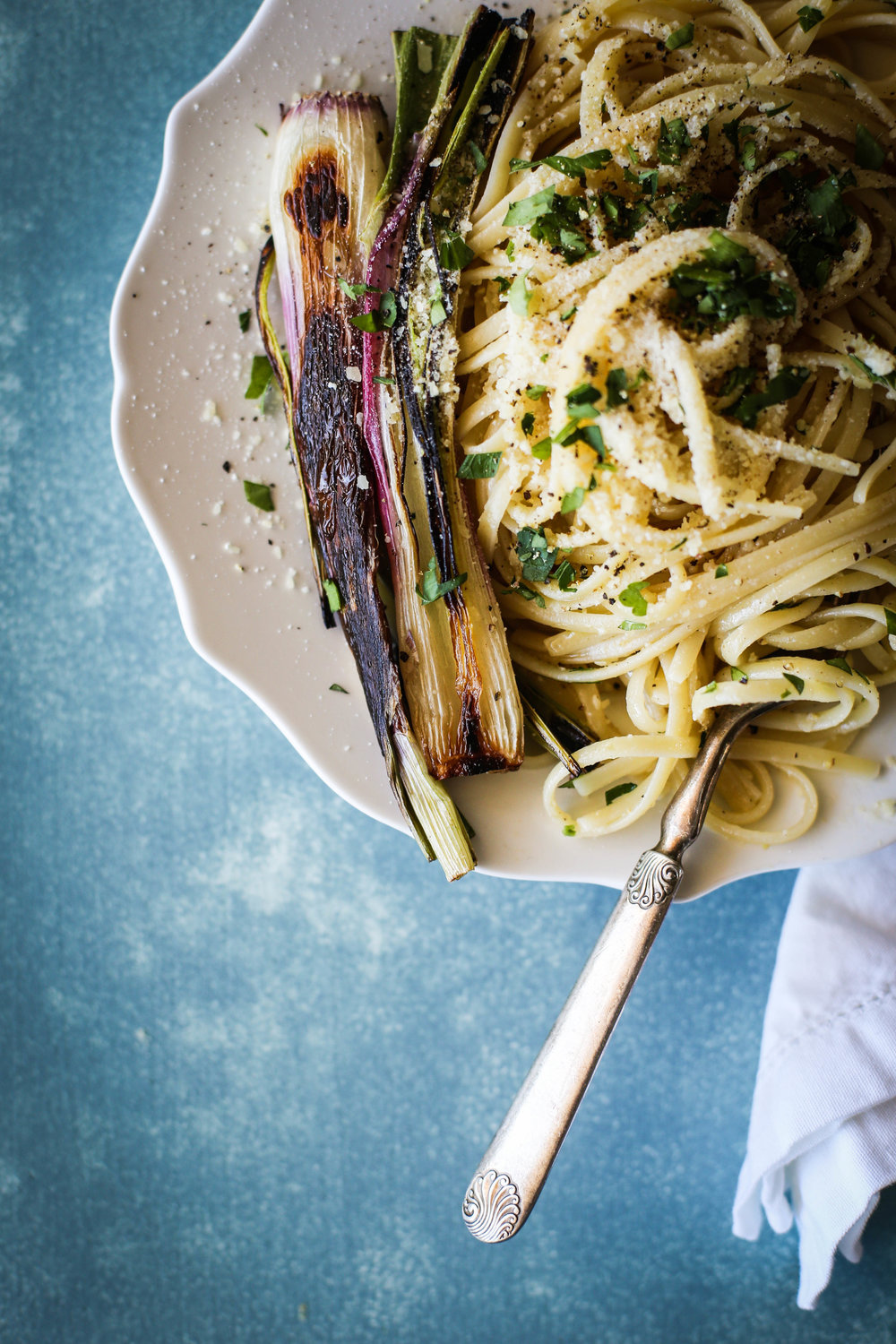 Linguine with Charred Spring Onions & Warm Red Wine Vinaigrette