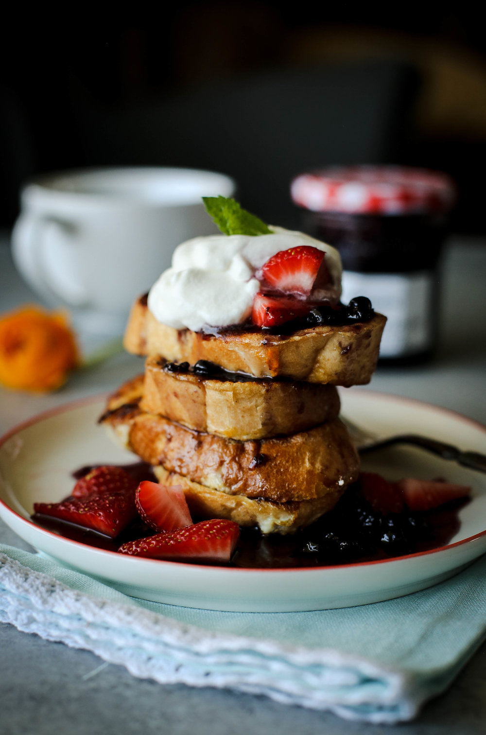 French Toast with Minty Blueberry Syrup