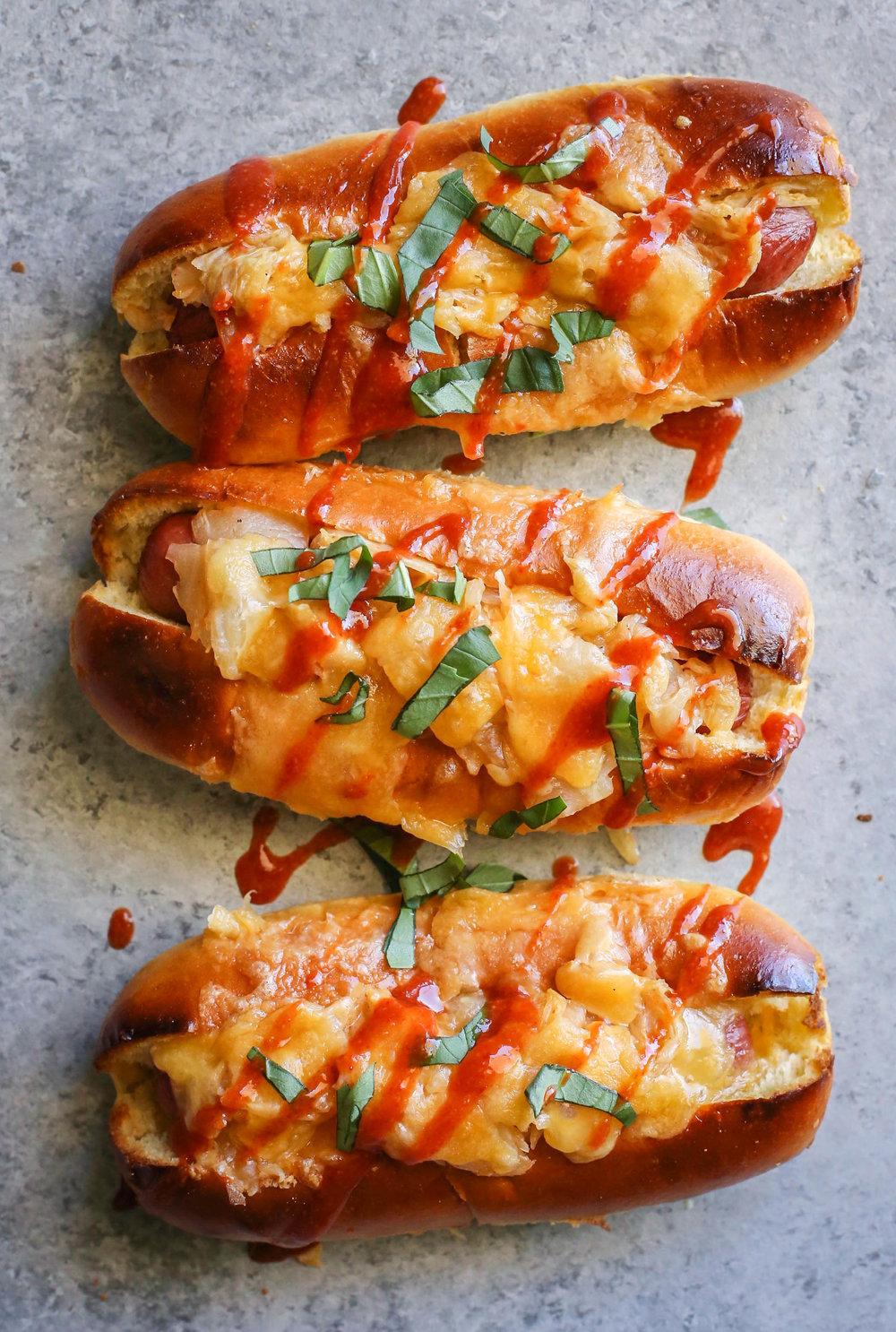cheesy kimchi hot dogs
