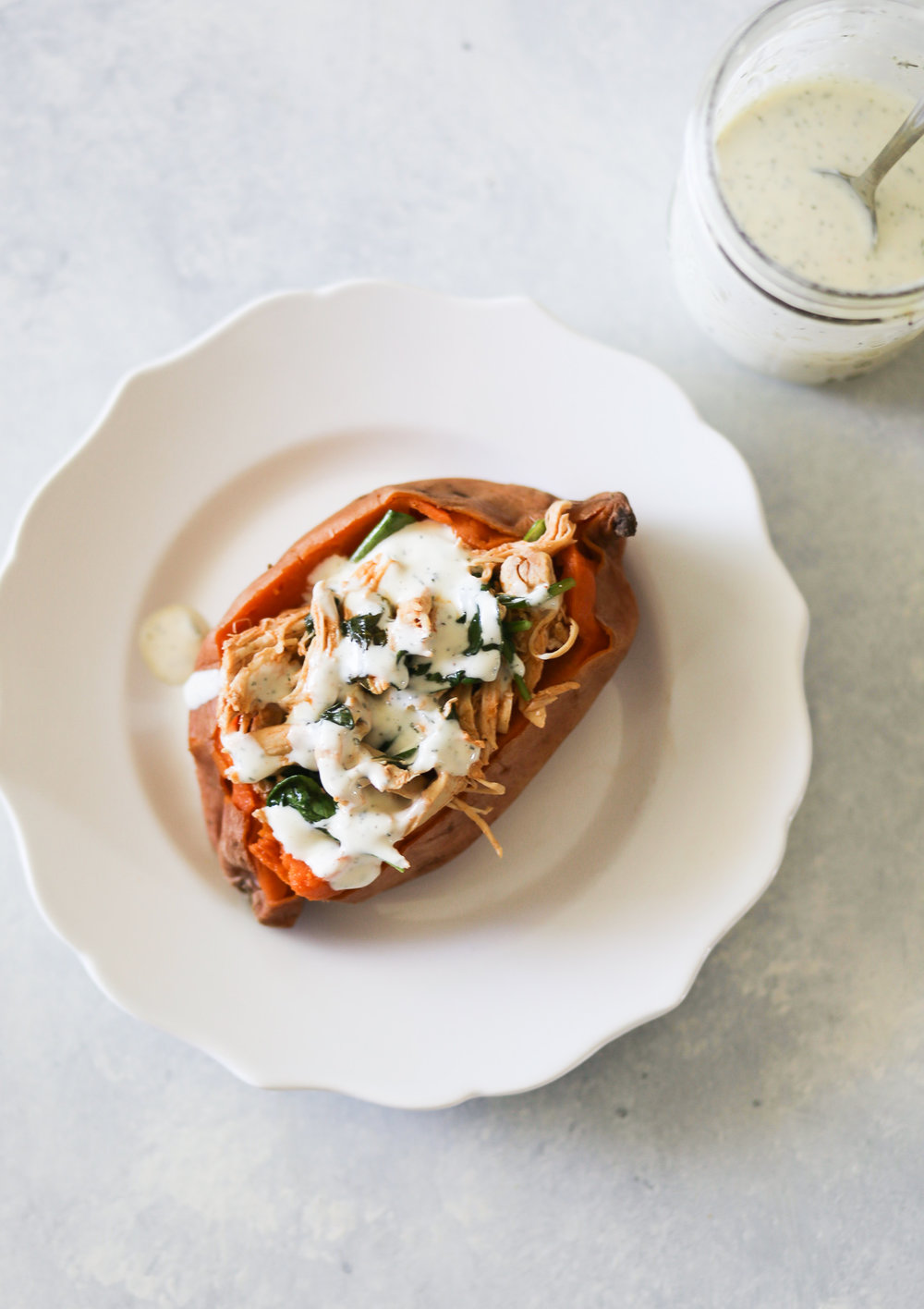Instant Pot Buffalo Chicken Stuffed Sweet Potatoes | Set the Table