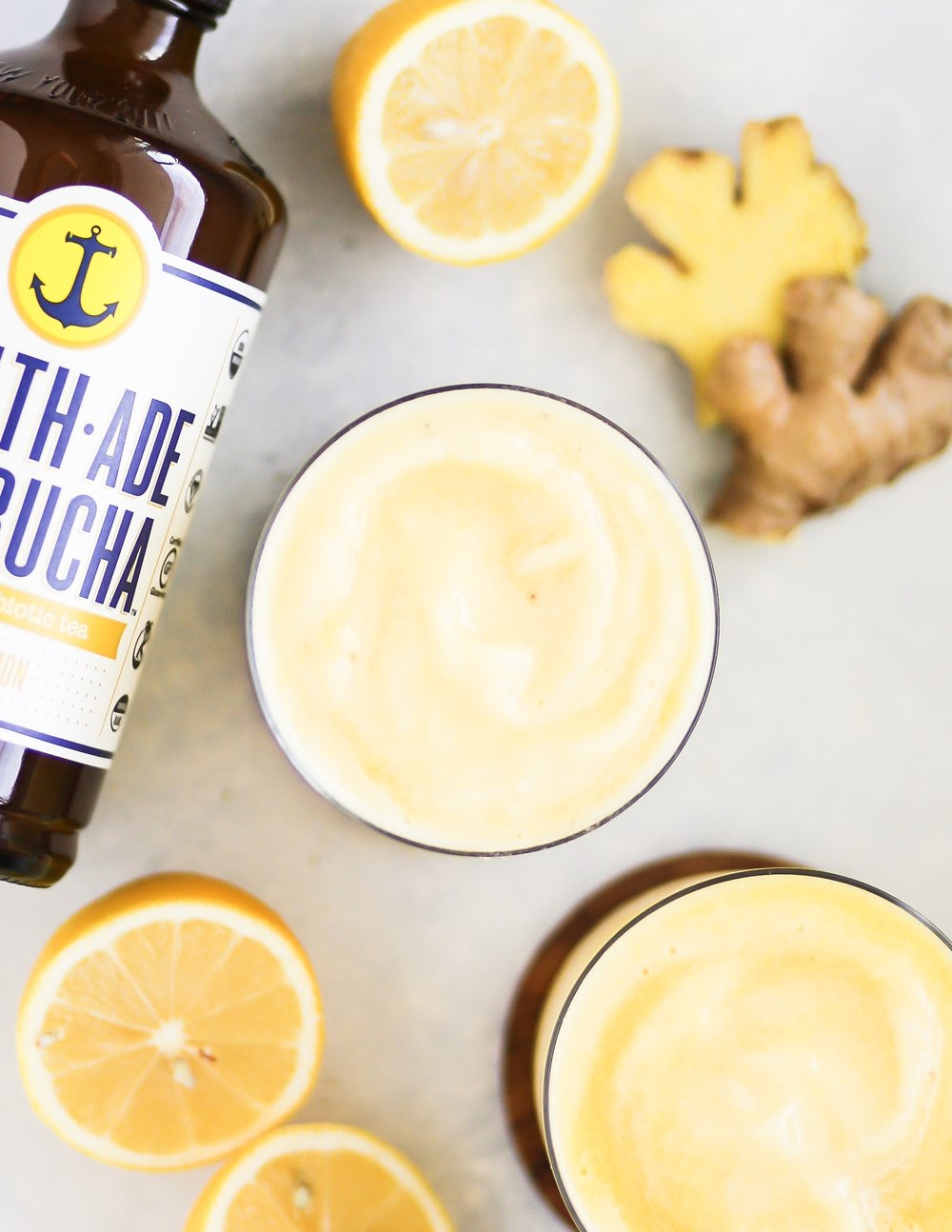 Ginger Lemon Kombucha Smoothie | Set the Table #guthealth #followyourgut #healthadepartner #smoothie #recipe #probioticsmoothie