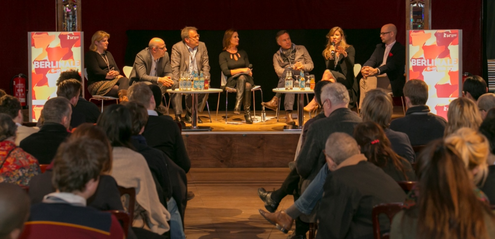 """Berlin Film Festival Panel: """"The Changing Markets"""" moderated by Kavana CEO Michele Ohayon, with Mark Johnson, (Breaking Bad) Chris Rice (WME), Nico Hofmann, and Christina Rogers (Magnolia)."""