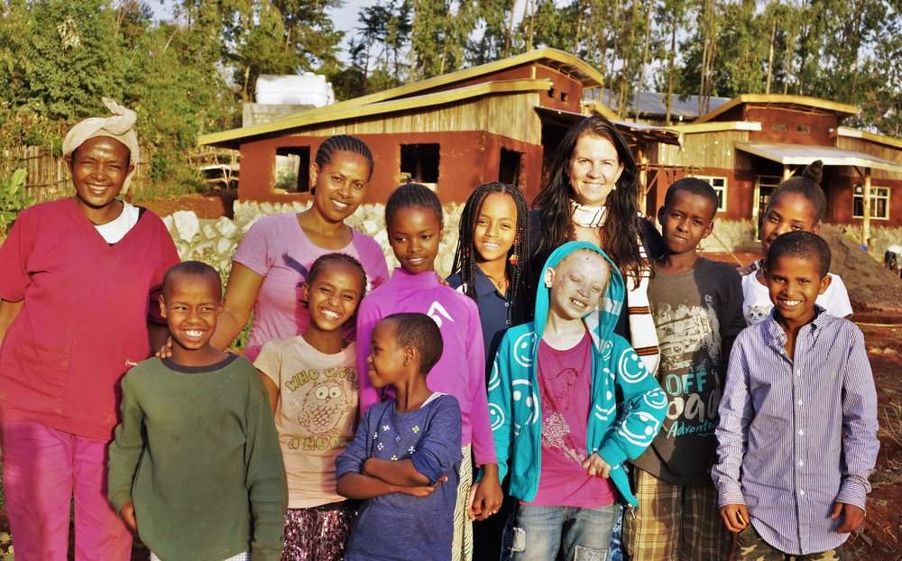 Program and In-Country Director Sister Amarech, and Founder and Executive director Jennifer Crooks, along with UV cook Abebech and some of the older children on March 16, 2017, the day we moved into the childrens new home, Wolayta Village, in Soddo. Such an amazing day!