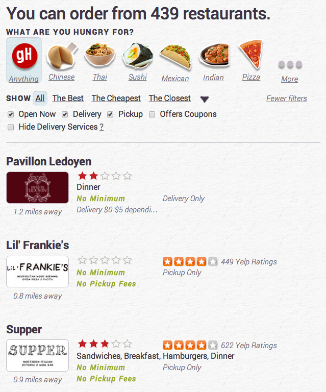 Previous versions of the site showed the Yelp rating next to the GrubHub rating. This wasn't ideal, since it caused diners to click to Yelp to read reviews, breaking the order flow. Additionally, many Yelp reviews focused on ambiance and service - characteristics that our diners didn't care about for take out or delivery.