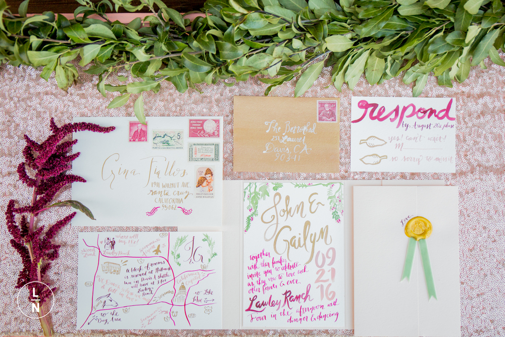 Lovely calligraphy by Pigment & Parchment, Florals by Ampersand , Rentals by Botanica sparkle linen by The Linen Bar and photo by Lan
