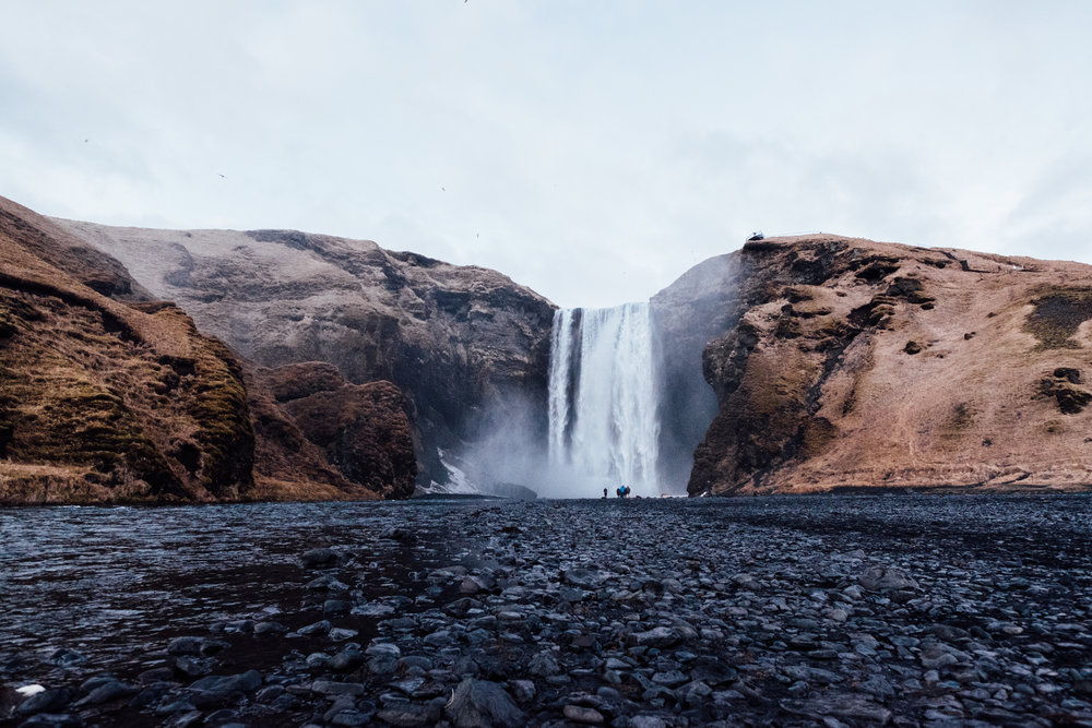 Next stop: Skogafoss! This waterfall is about 200 feet high and also easily accessible from Ring Road. Sadly we got here right after the sun set, so we didn't get too much time to check it out before it got dark.