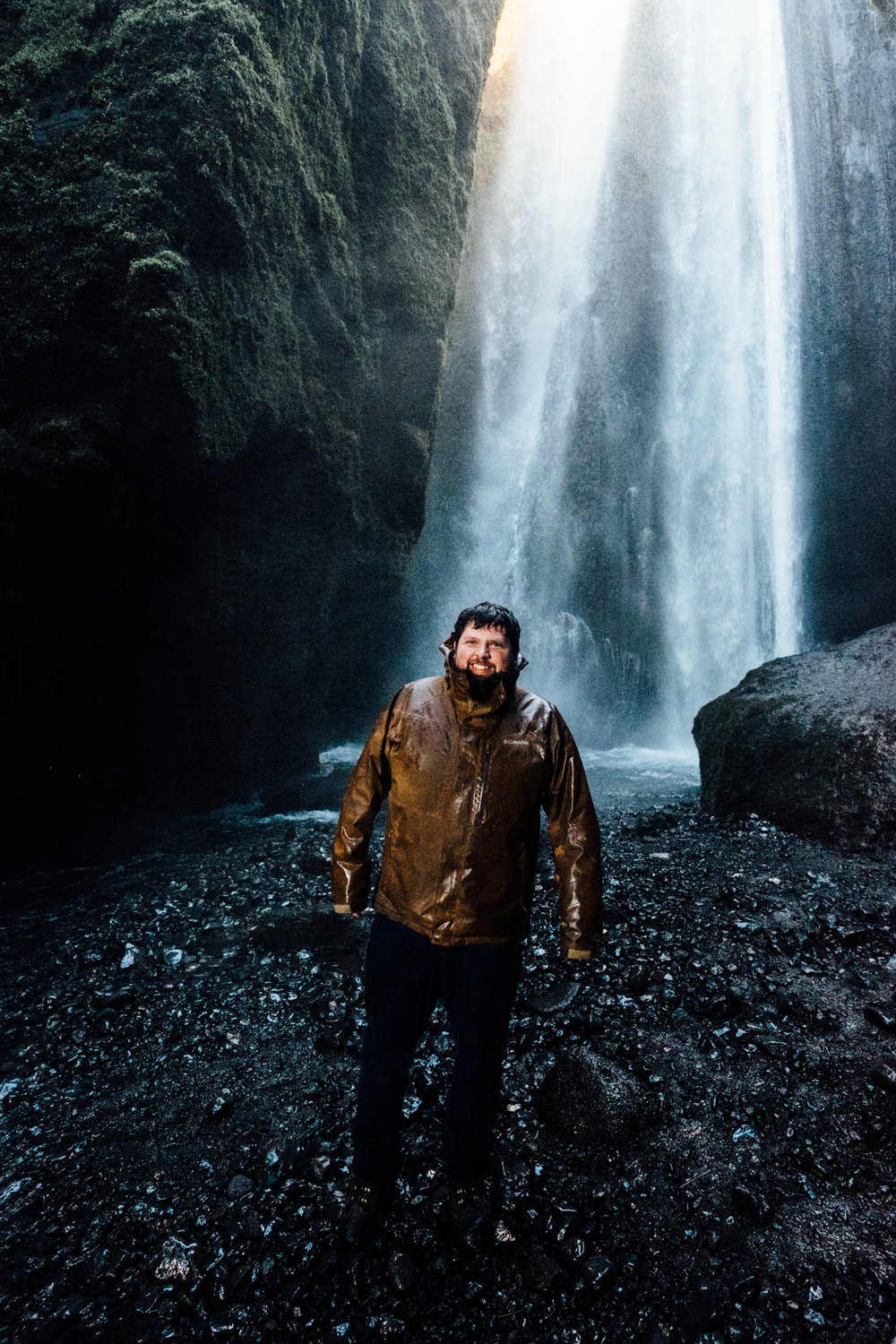 Jake posing in front of Gljufrabui! This was one of our favorite hidden gems in Iceland - this waterfall is tucked behind a rock face and not visible from the front. It's an easy hike through a shallow stream to get into the clearing to view the waterfall - totally worth it! Be sure to wear waterproof clothing if you want pics, though, you'll definitely get soaked.