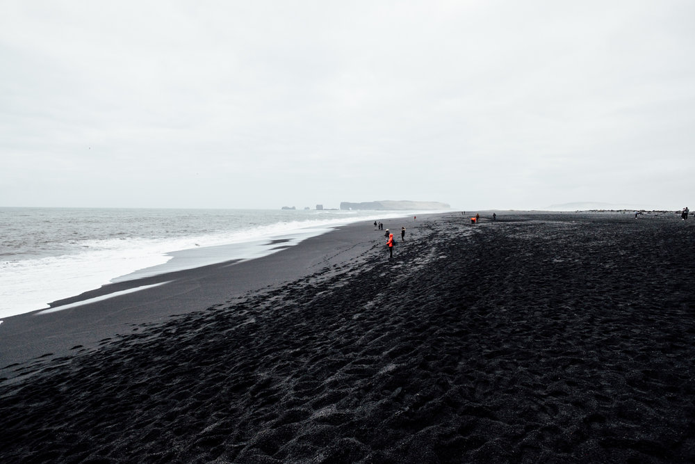 Looking out at the black sand beach. The sand here is such a intense deep black - it's hard to describe without seeing it in person.