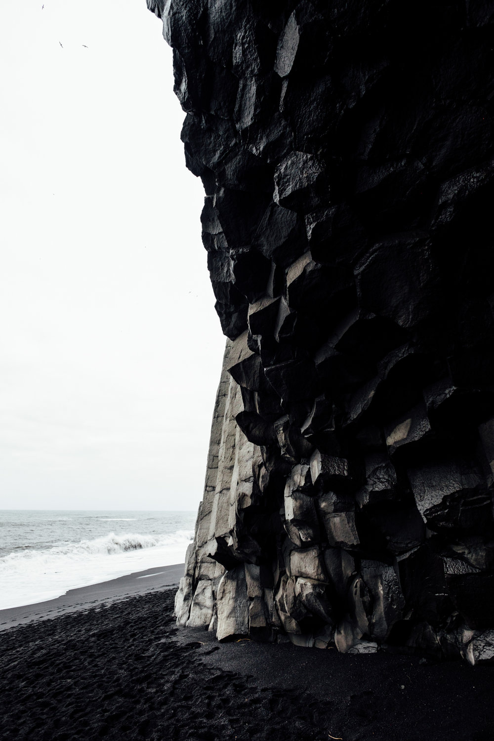 Inside the basalt cave at Reynisfjara.