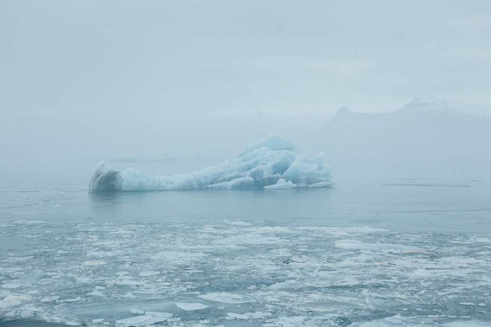 This is our first image from Jökulsárlón (glacier lagoon). The lagoon drains into the Atlantic and contains icebergs and water from the surrounding Breiðamerkurjökull glacier. The blue glacial water and overcast skies made for a surreal experience here.
