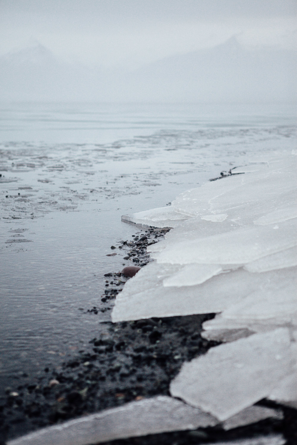 Sheets of ice that drifted on shore from the lagoon at Jökulsárlón.