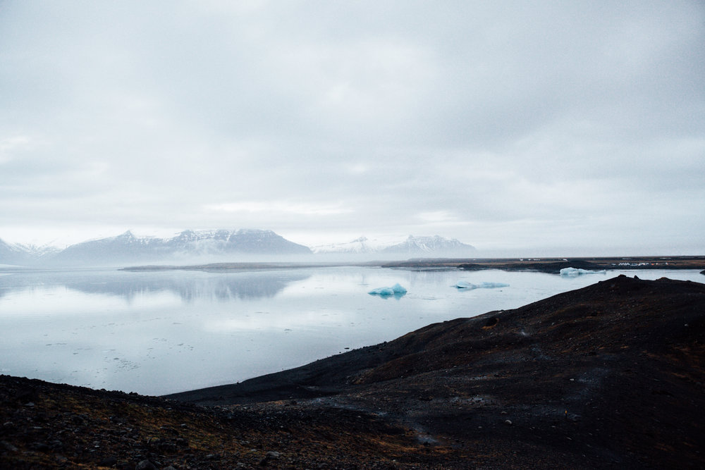 A view from the other side of the lagoon. Again, hard to put the size of the icebergs and glaciers into perspective.