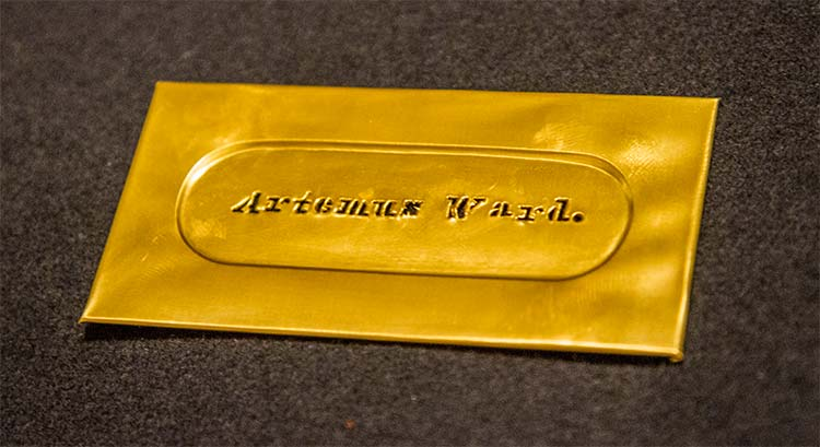 Single-Line Brass Stencil Plate for Artemus Ward.