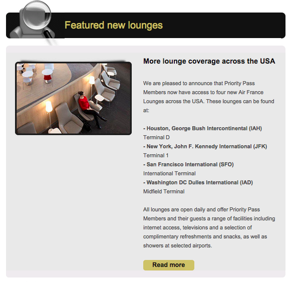 Priority Pass members can now access four new Air France lounges in the US