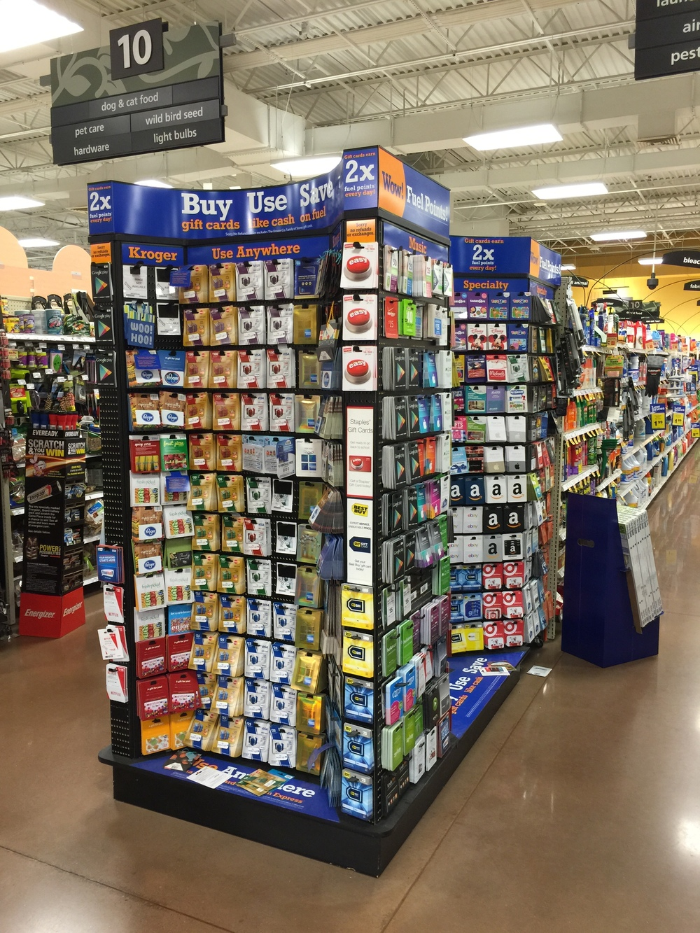 Kroger sells a very large selection of gift cards from a broad variety of companies (click to enlarge)