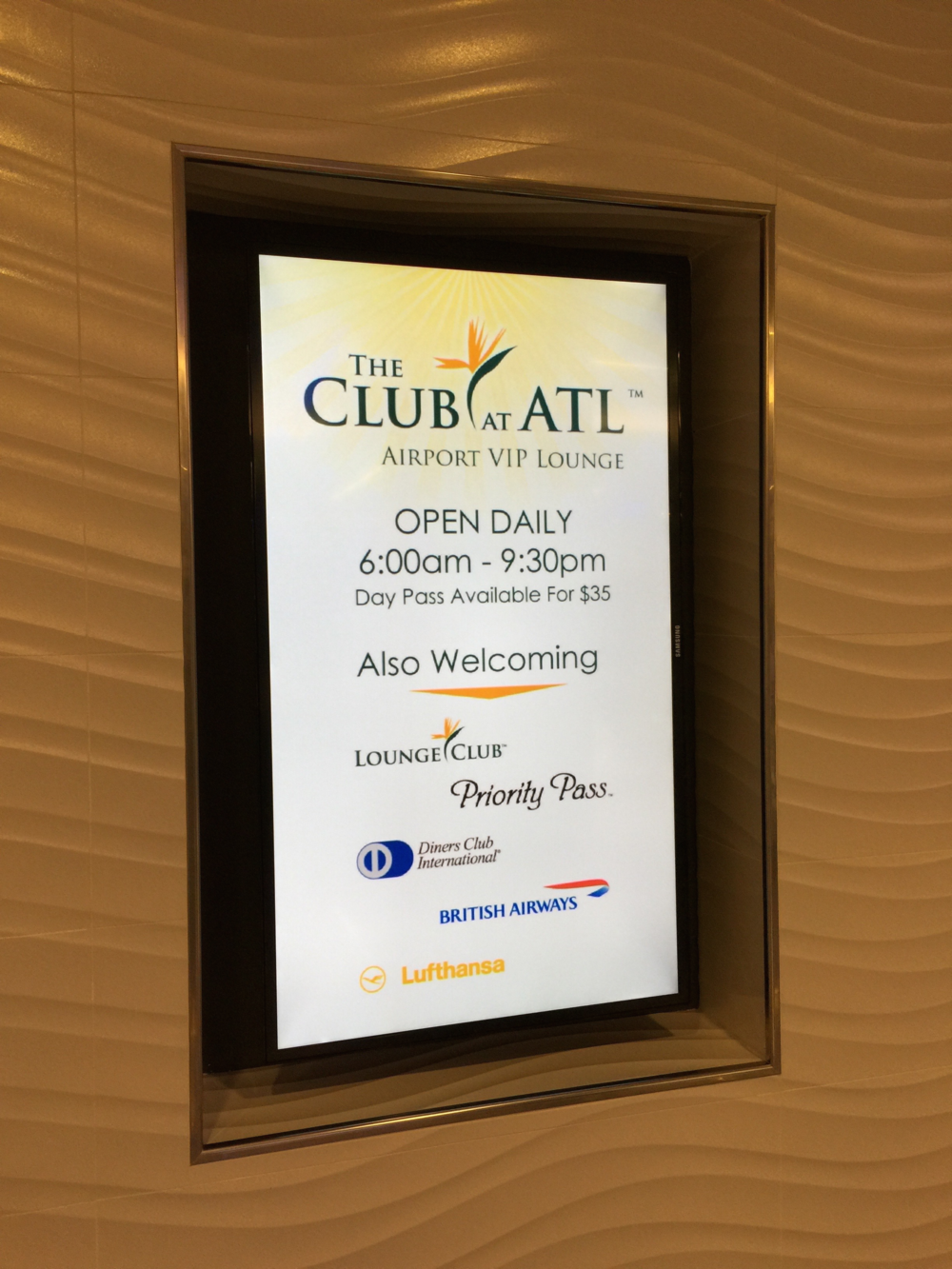 The Club at ATL is open daily and is open to participants in many programs  (click to enlarge)