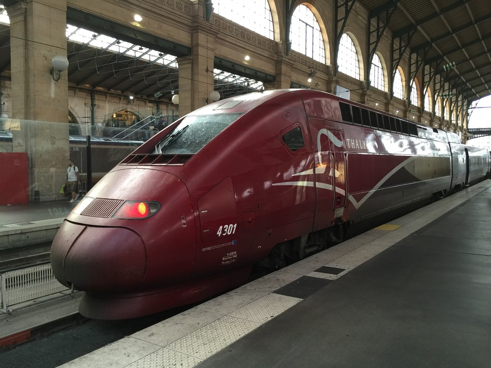 Thalys high-speed train at Paris's Gare du Nord station after arrival from Cologne, Germany