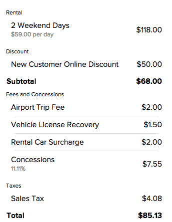Rate detail for two day Silvercar rental in Fort Lauderdale, FL - before additional bonuses!