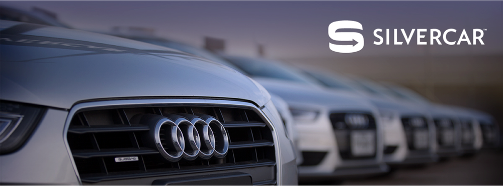 Silvercar rents exclusively silver Audi A4s with GPS, satellite radio, sunroof and leather