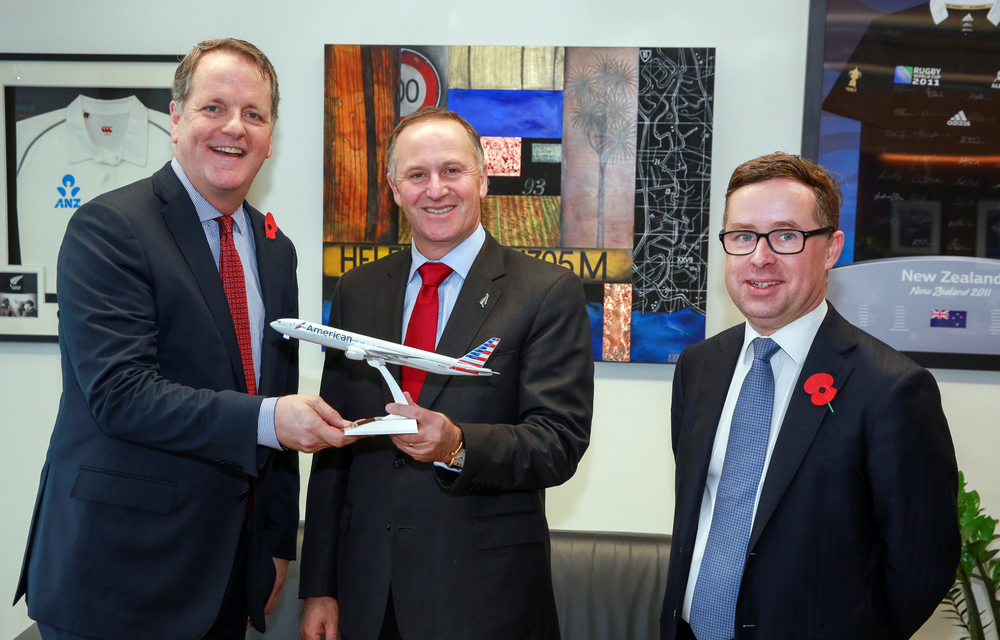 American Airlines chariman and CEO, Doug Parker, New Zealand Prime Minister, John Key and Qantas Group Chief Executive Officer, Alan Joyce announce AA's LAX-AKL service