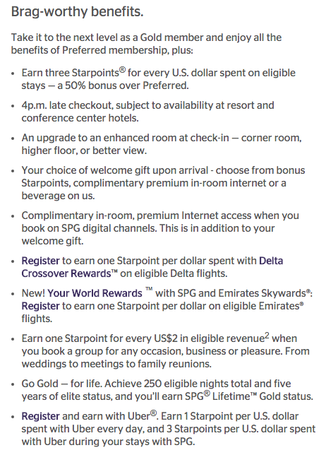 SPG Gold Preferred benefits (click to enlarge)