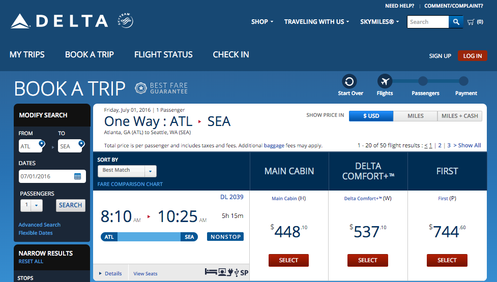 Delta made Comfort+ a separate fare class for flights starting May 16, 2016
