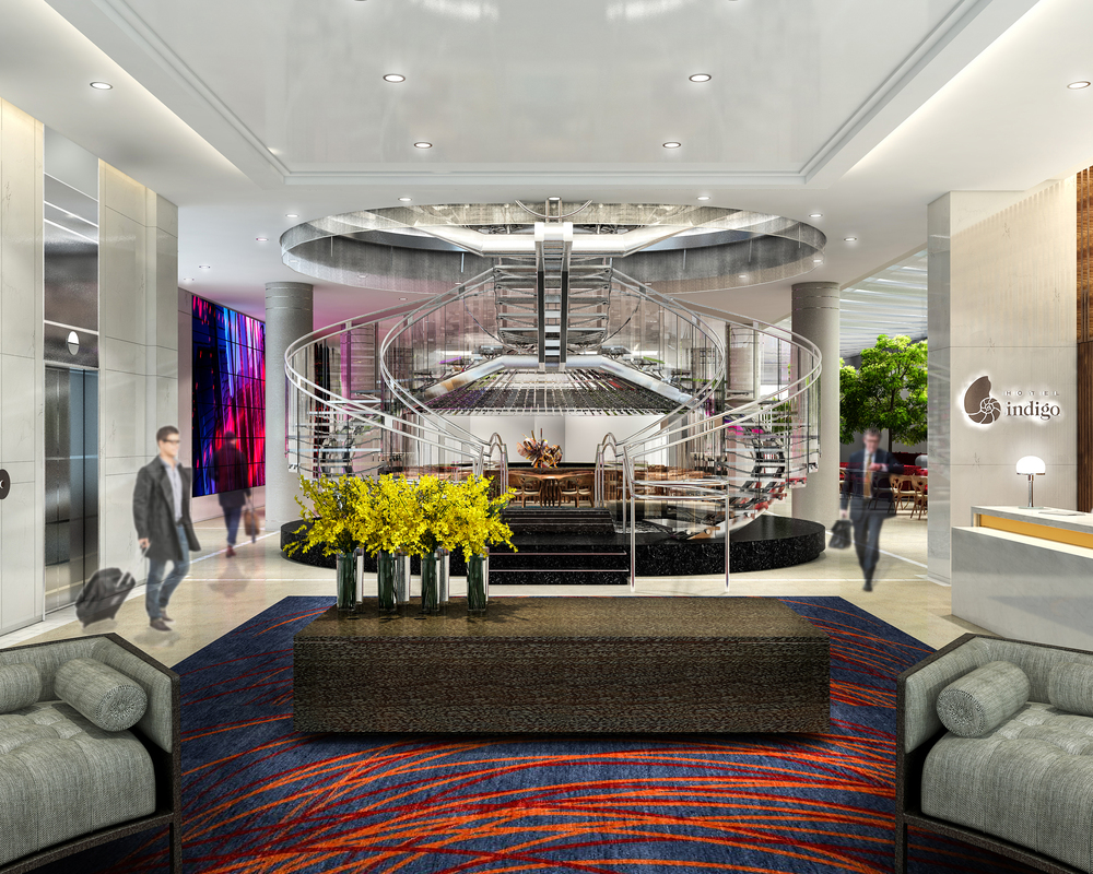 The hotel will feature a glass and steel spiral staircase