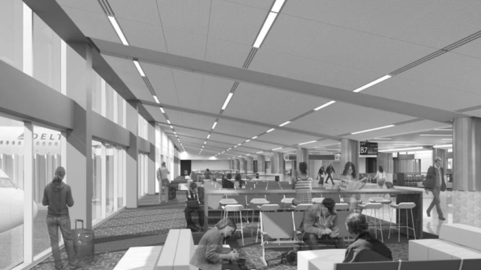 The modernized gates at ATL will be more open and feature sloped ceiling among other design touches   (Photo: City of Atlanta)