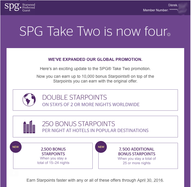 SPG is expanding its spring Take Two promotion to allow members to earn up to 10,000 additional Starpoints