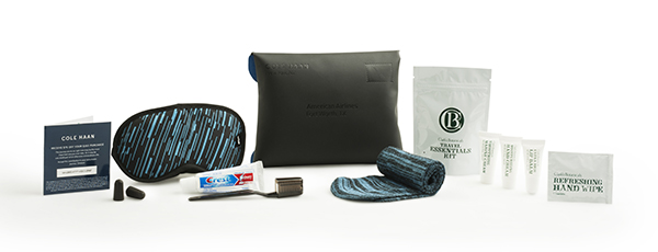 Domestic Transcontinental First Class kit featuring Cole Haan and Clark's Botanicals