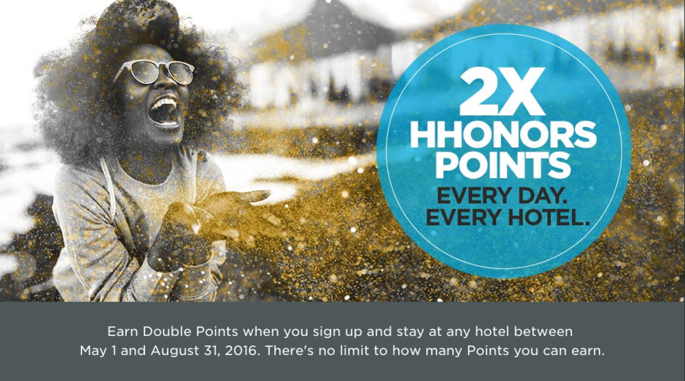 "Earn double Hilton HHonors points with the ""Unlimited Bonus"" promotion"